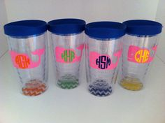 set of 4---whale monogram 16 oz. Acrylic Tumbler Cup With Lid and Chevron base
