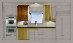 Tutorial - Hand Rendering, Kitchen Elevation, 160223
