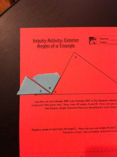 exterior angles of a triangle inquiry activity exterior angles
