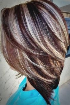 Tips for Choosing Hair Color – Autumn Winter 2019 – Haircut Styles and Hairstyles - Fall Hair Colors Brunette Hair With Highlights, Hair Highlights And Lowlights, Brunette Color, Hair Color Highlights, Ombre Hair Color, Cool Hair Color, Silver Highlights, Caramel Highlights, Chunky Highlights