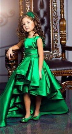 Stunning High Low Girls Pageant Dress Green Satin
