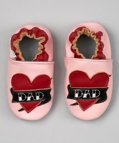 Take a look at the MOMO Baby Pink & Red 'Dad' Heart Booties on #zulily today!