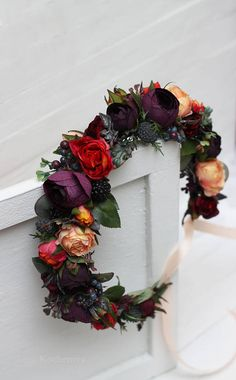 Ready to ship Dark purple orange peach eucalyptus flower crown