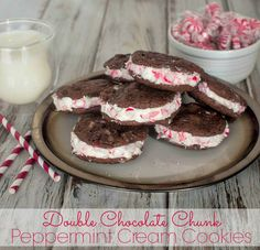 Double Chocolate Chunk Peppermint Cream Cookies