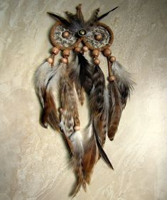 Owl Dream Catcher  Natural Brown Feather Dream by peacefrogdesigns, $36.00
