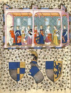 Les neuf Preuses (Déipylé, Synoppe, Hippolyte, Ménalippe, Sérimaris, Lampeto, Thomyris, Theuqua et Penthésilée), au-dessus des armes de Thomas de Saluces entourées de celles de sa mère, Béatrix de Genève et de son épouse Marguerite de Pierrepont (ou) de Roucy  (f°125 =vue 149) -- «Le chevalier errant» de Thomas de Saluces, Paris, vers 1403-1404 [BNF Ms Fr 12559 - ark:/12148/btv1b60010445]