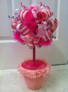 my ribbon topiary! so ready for Lily's Fancy Nancy party!