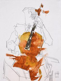 Quartet Series - 3 of 4 - 8.5 x 11 in. art print of original painting by Jaime Hernandez