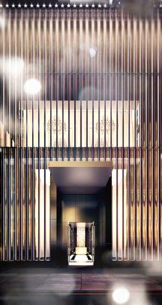 19 Super Ideas for wall design hotel lobby yabu pushelberg Entrance Design, Facade Design, Wall Design, Exterior Design, Porte Cochere, Yabu Pushelberg, Spa Hotel, Lobby Design, Design Hotel