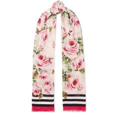 Dolce & Gabbana Printed modal and cashmere-blend voile scarf featuring polyvore, women's fashion, accessories, scarves, pink, colorful shawl, pink scarves, wrap scarves, multi colored scarves and wrap shawl