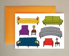 mid-century furniture collection cards by hello hello design