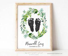Boho Nursery Art Decor Watercolor Wreath, Actual Footprints