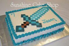Minecraft Diamond Sword 1/4 sheet Cake