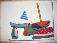 """You can follow along as I make a rug from scratch using a design from a painting.  I use the rug punching technique with wool yarn, a punch needle, a frame and monks cloth backing.  Click on """"detail"""" above this picture, and then click on picture #1, and then the rest of the pics in numerical order to see and read each tutorial step.  Give me some feedback on how helpful this tutorial is to you.  I learned how to do this after reading Amy Oxford's book, """"Punch Needle Rug Hooking, Techniques…"""