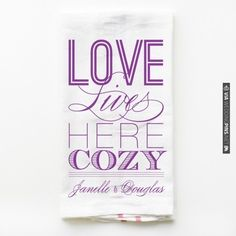 Most popular tea towel last month. Love Lives Cozy Towel, so super cute to warm up your kitchen. (: | CHECK OUT MORE IDEAS AT WEDDINGPINS.NET | #weddings #weddinggear #weddingshopping #shopping