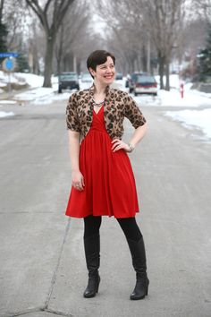 Leopard shrug, red dress, black opaques, black boots, heavy chain necklace