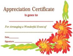37 best certificate of appreciation templates images on pinterest certificate of appreciation template for event organizer yelopaper Gallery