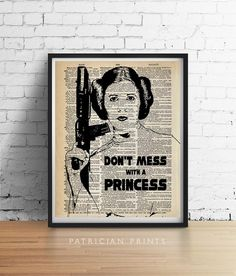 PRINCESS LEIA Star Wars Print, Quote Wall Art, Princess Poster, Vintage Illustration Wall Art, Star Wars Decor, Dictionary Art GICLEE by PatricianPrints on Etsy https://www.etsy.com/listing/172130907/princess-leia-star-wars-print-quote-wall
