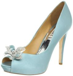 I think these may be the ones...Badgley Mischka Women's Cleone Peep-Toe Pump,Nile Blue,9.5 M US Badgley