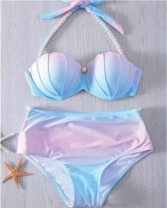 New Women mermaid bikini Top Design Gradient Color Push Up Swimwear Padded Brazilian Cut out Bikini Rainbow Bandage Bathing suit Tie Dye Bikini, Vs Bikini, Push Up Bikini, Bikini Swimwear, Sexy Bikini, Halter Bikini, Bikini Beach, Halterneck Bikini, Bikini Tops