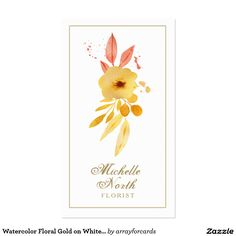 Watercolor Floral Gold on White ID296 Business Card...........  This chic, sophisticated business card design features a modern watercolor floral effect with paint splatters in rose and gold tones framed with a delicate gold border on the background color of your choice. A versatile design for creative professionals and entrepreneurs. Also great for beauty salons, fashion boutiques, wedding planners, florists, stylists and more.