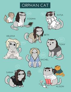 "kittycassandra: "" Print available here: https://www.etsy.com/listing/215985923/orphan-black-cats-85x11in-print """