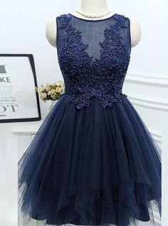 elegant homecoming dresses, A-line homecoming dresses, lace applique homecoming dresses, navy blue homecoming dresses, tulle homecoming dresses, short prom dresses, formal dresses, party dresses, graduation dresses#SIMIBridal #homecomingdresses