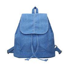841d051f6e60 ... from China denim drawstring backpack Suppliers  2017 Fashion Women Soft  Denim Drawstring Backpack Girls Leisure Jeans School Rucksack Female Travel  Bag ...