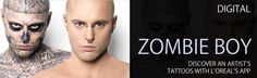 """Read more: https://www.luerzersarchive.com/en/features/digital/loreal-invites-you-to-discover-rick-genests-tatoos-439.html L'OREAL INVITES YOU TO DISCOVER RICK GENEST'S TATOOS L'Oreal's """"Zombie Boy"""" app by concealer make-up brand Dermablend lets users discover the artist's tattoos, whilst guessing which products were used to cover him up. L'Oreal Dermablend's """"Go Beyond the Cover"""" video from 2011 got 13.5 million YouTube hits. It starred the Rick Genest who revealed his vast tattoos that…"""