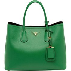 Prada Saffiano Cuir Double Bag, Green (Verde) (23.535 RON) ❤ liked on Polyvore featuring bags, handbags, purses, prada, green bags, green purse, prada bags and prada purses