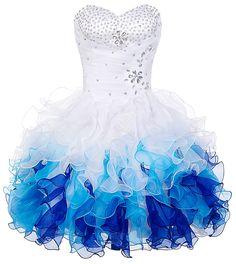 Sukienka z falbanami na studniówkę, biało niebieska| karnawałowa sukienka…