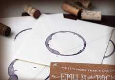 wine stained envelopes with cork liner save-the-dates  #invitations