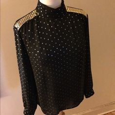 VTG blouse Black (slightly sheer) blouse with gold sequined shoulders.  Disco at its finest!!  Estate sale find/never worn (by me).  Excellent condition.  Make sure to check out the matching skirt!!!!  Discount for buying together! City Girl Tops Blouses