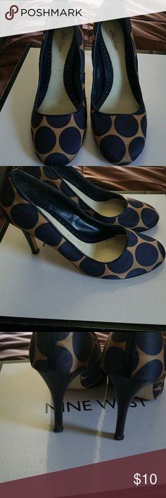 shoes, Lela Rose Tan and blue polka dot, print pumps, used Lela Rose Shoes Heels