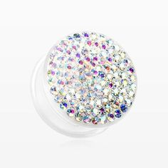 A Pair of Brilliant Sparkle Gems Single Flared White Ear Gauge Plug-Aurora Borealis