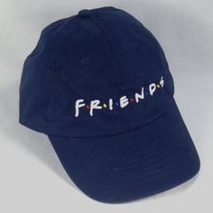 Friends TV Show Series Baseball Cap Strapback Hat Blue Vtg 1990s Memorabilia #HeadShots #BaseballCap