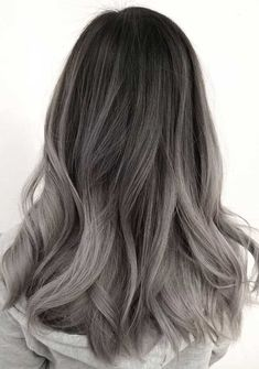 51 Gorgeous Hair Color Worth To Try This Season balayage hair color, light brown hair color ideas, h Ash Grey Hair, Silver Ombre Hair, Ombre Hair Color, Light Brown Hair, Gray Ombre, Dark Brown, Black Hair, Ash Blonde, Ash Ombre Hair