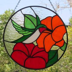 Stained Glass Ruby Throated Hummingbird by LivingGlassArt on Etsy