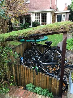 Garden Bike Storage, Bike Shelter, Bike Shed, Outdoor Living, Outdoor Decor, Bicycle Design, Recumbent Bicycle, New Homes, Home And Garden