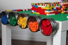 There's a place for every brick. Here are 15 cool and functional ways to organize LEGO range from a DIY LEGO table LEGO storage ideas that include bins from The Container Store. Ikea Hacks, Ikea Hack Storage, Lego Storage, Nerf Gun Storage, Storage Ideas, Storage Solutions, Magnetic Storage, Wall Storage, Table Lego Ikea
