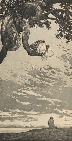 "Fritz Hegenbart 1864-1943 ""Hegenbart's work stands out for conjuring the slightly grotesque allegories I often like to see: The woman aiming an arrow from inside a serpent's jaws represents Malice"""