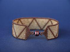 SALE - Tribal Triangles - Geometric, Urban statement - Peyote bracelet and Peyote band ring set - Handwoven, Modern, Fashion Jewelry Set