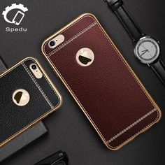 Spedu Litchi Leather with Metal Frame Case For iPhone 5, 5S, 5C, SE, 6, 6 Plus, 6S, 6S Plus, 7, 7 Plus, 8, 8 Plus, X