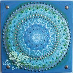 zöld-kék-ezüst Napspirál mandala / green-blue-silver Sunspiral mandala