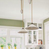 Stock Products: Pulley Lights - Similar to shown: Porter Pendant with white ceramic shade, about $79; Pottery Barn