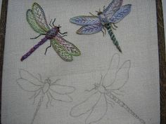 How to create embroidered dragonflies with shimmery wings- via Ella's Craft Creations on Blogger.