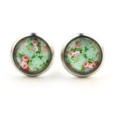 """süße Ohrstecker """"Vintage Garden"""" von SCHMUCKZUCKER kleine Ohrringe Blumen Muster 12mm (vintage mint)"""