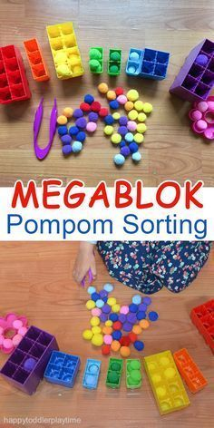 This activity works on fine motor skills. Tweezers are used to pick up the colored pom poms and place them into the correct colored block.