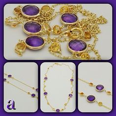 http://amazinite.com/ is coming soon   Gemstone jewelry. Genuine fancy cut amethyst and citrine handset in stylish yellow gold. Classic by the yard design updated with a dual color scheme to blend seamlessly with this seasons colorful fashion lineups. Handmade in NYC.   http://item.mobileweb.ebay.com/viewitem?itemId=160745493461