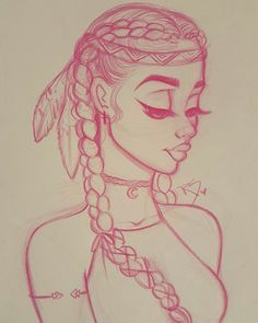 Native American, cute, simple drawing from Christina Lorre tattoo girl drawing Pretty Drawings, Amazing Drawings, Art Drawings Sketches, Cartoon Drawings, Easy Drawings, Cartoon Art, Native Drawings, Tattoo Sketches, Pencil Drawings